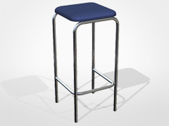 Stool Upholstered Chrome SF10
